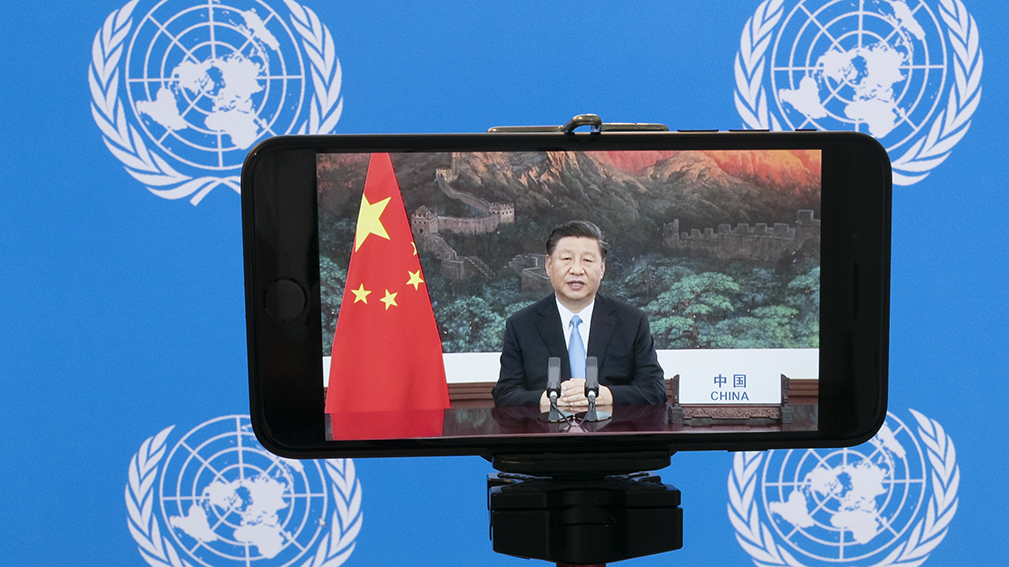 2020年9月22日,中国国家主席习近平通过视频参与75届联合国大会。(美联社)