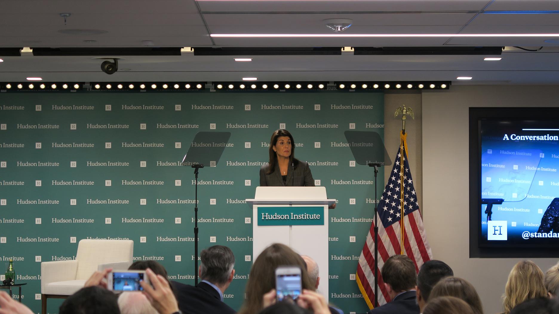 美国前驻联合国大使尼基·黑利(Nikki Haley) 以捍卫美国资本主义价值为题发表演说。(自由亚洲电台记者唐家婕华盛顿摄)