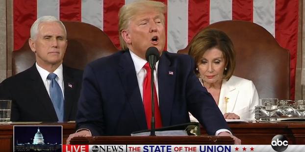 2020年2月4日晚间,美国总统特朗普在国会发表他上任以来的第三次国情咨文。(视频截图)