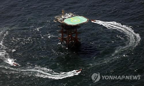 图片: 韩国在苏岩礁(离於岛)上架设的海洋科学基地。 (韩联社)