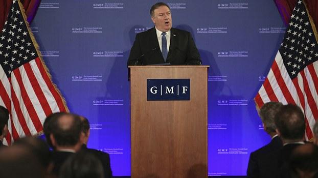 2018年12月4日,美国国务卿蓬佩奥在比利时参加北约外长会议期间表示,美国有可能退出《中程导弹条约》。(美联社)