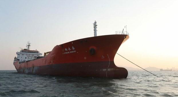 Lighthouse Winmore运输船在韩国丽水港。(AFP)