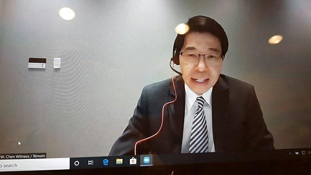 驻加拿大台北经济文化代表处陈文仪通过视讯参与国会听证 (驻加拿大台北经济文化代表处提供)