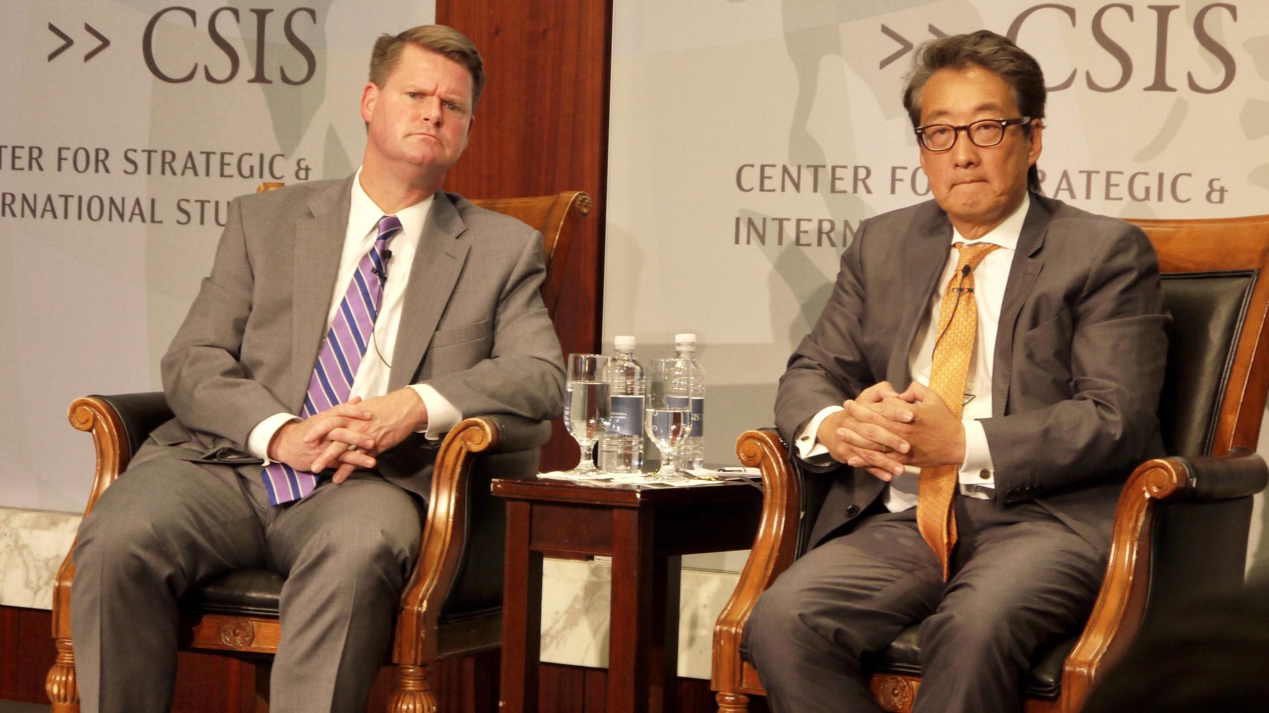 华府智库「战略暨国际研究中心」28日上午举行的研讨会,探讨美日韩三方国防事务合作的重要性。(记者郑崇生摄)