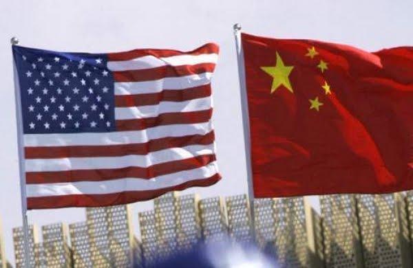 美中国旗。(AP)