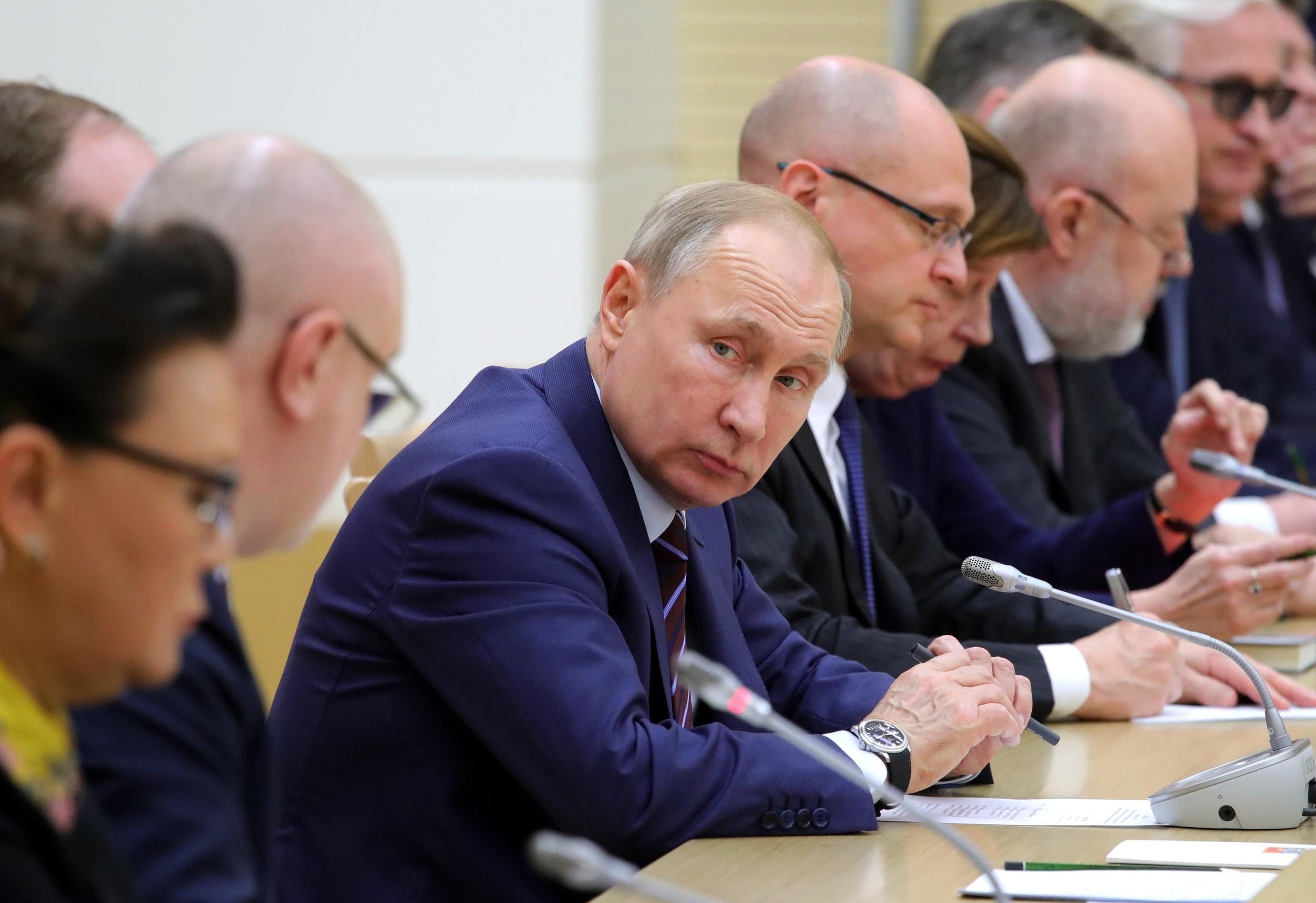 2020年1月16日,俄罗斯总统普京在一个修宪会议上讲话。(美联社)