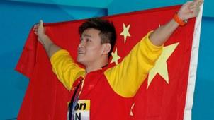 2019年7月21日,在韩国光州举行的2019游泳世锦赛男子400米自由泳决赛中,中国选手孙杨夺得冠军。(美联社)