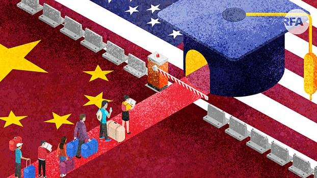留美中国学生恐遭驱逐离境(自由亚洲电台制图)