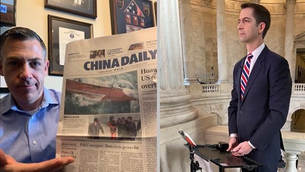 美国联邦众议员吉姆‧班克斯(左)和参议员汤姆‧柯顿(右)联合三十五名议员致函美国司法部部长,要求对《中国日报》进行调查。(图源:班克斯推特、柯顿推特)