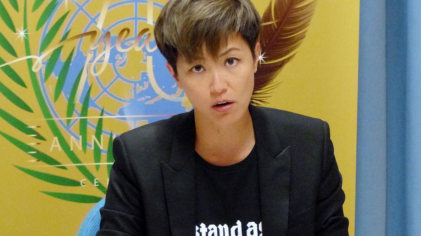 香港歌手何韵诗2019年7月8日,在瑞士日内瓦召开的联合国人权理事会发言。(美联社)