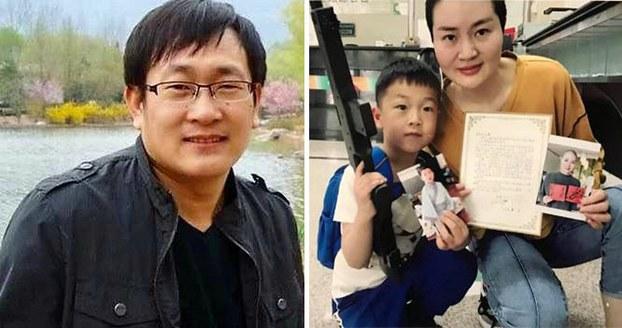 组合图片:维权律师王全璋(左);妻子李文足与儿子合影。(资料图/推特图片)