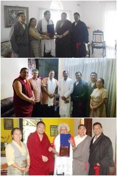 图片:西藏人民议会议员分别同印度果阿邦副首席部长佛兰西斯科(上)、国会议员西里巴德(中)和经济学家梅纳德(下)举行会晤后留影。(受访人提供)