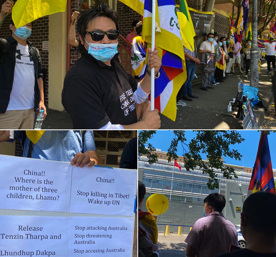 澳洲地方西藏青年会会长尊珠唯色及示威诉求(丹珍摄)