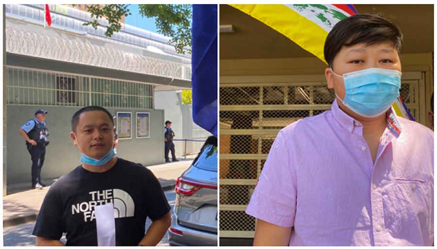 (左起)在示威现场接受采访的华人麦克和唐先生(丹珍摄)