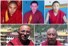 图片:2012年9月1号被捕的玉树州称多县赛康寺五名僧人:1. 次成格桑 2. 索南西热 3. 阿旺莫朗 4. 索南英尼 5. 洛桑晋巴(受访人早前提供)