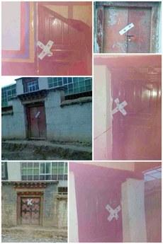 图片:比如县仲那寺大门及每间僧舍被贴上封条。(受访人提供)
