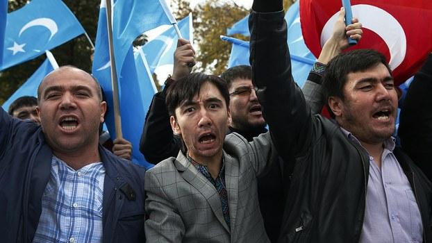 资料图片:2018年11月6日,流亡土耳其的维吾尔人在伊斯坦布尔抗议示威。(美联社)