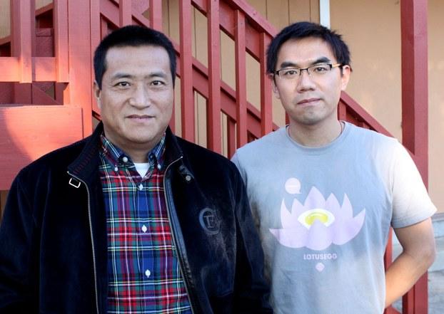 """图片:刘浏(右)与""""天安门民主大学""""复校筹备组召集人方政合影(CK摄)"""