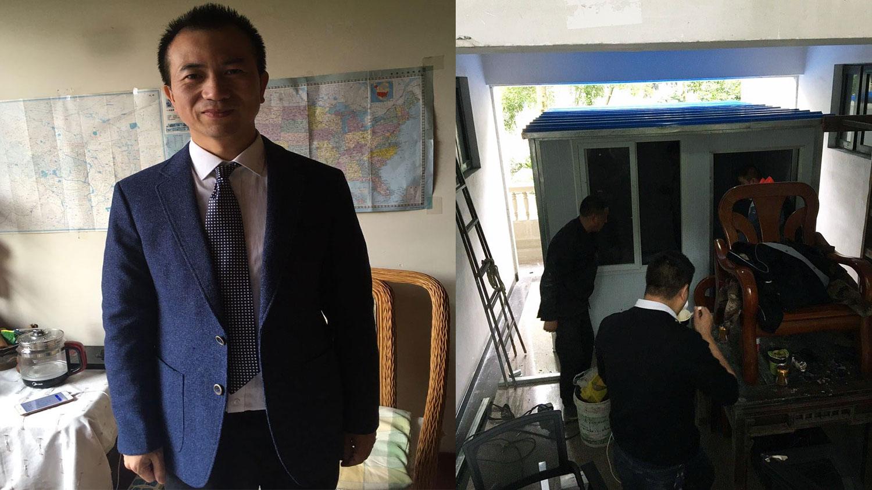 左图:成都秋雨圣约教会的李英强长老。右图:李英强家楼下,便衣警察搭建了板房,用于对他进行长期监视。(来源:李英强脸书)