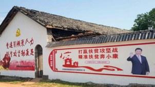 中国农居外墙上的脱贫宣传海报(寒冬网)
