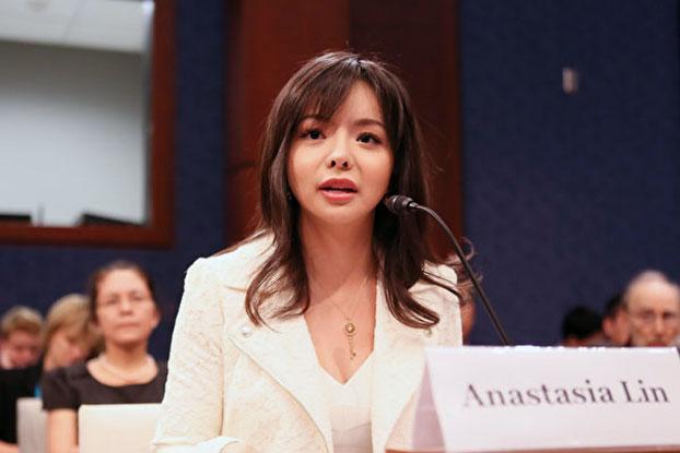 加拿大世界小姐林耶凡在美国国会听证(图源:大纪元)