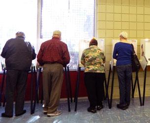 图片:美国大选投票所一景。 (记者萧融拍摄)