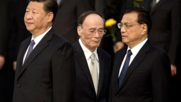 左起:习近平,王歧山与李克强。(美联社)