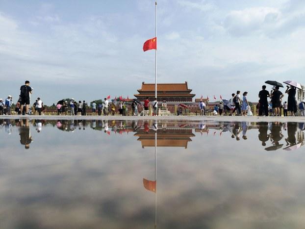 中国前国务院总理李鹏于2019年7月22日去世,终年91岁。7月29日,北京天安门广场下半旗志哀。(路透社)