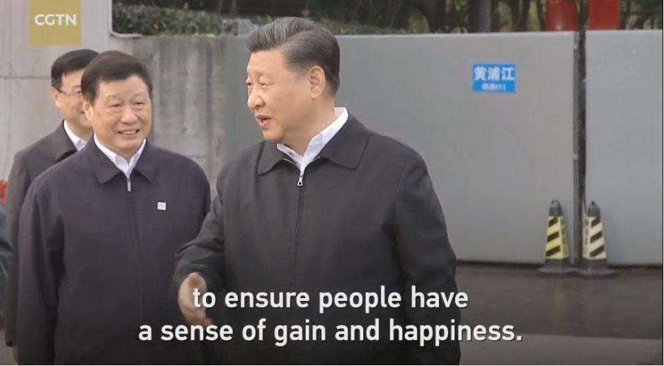 2019年11月2日,习近平在上海考察期间。(视频截图/CCTN)