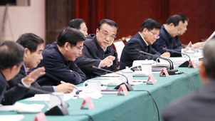 2019年11月14日,中国总理李克强(右四)主持召开部分省份经济形势和保障基本民生座谈会。(中国政府网)
