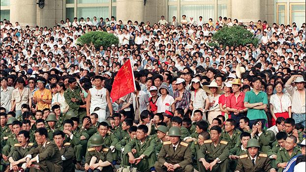1989年的六四运动。(法新社)
