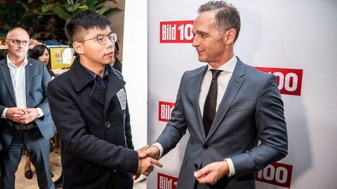 2019年9月9日,德国外交部长海科·马斯会见香港众志秘书长黄之锋。(美联社)