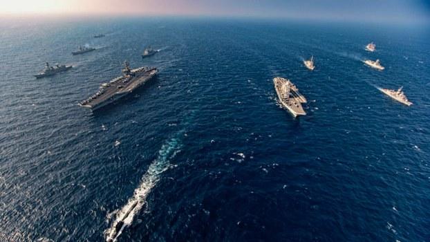 马拉巴尔分两阶段举行,第二阶段军演于11月17日至20日在北阿拉伯海举行。(法新社)
