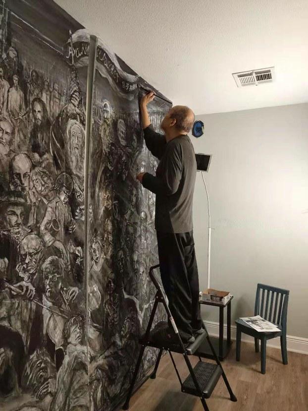 """本节目嘉宾王康绘制""""俄罗斯破晓""""画作。摄于2019年11月16日,王康提供"""