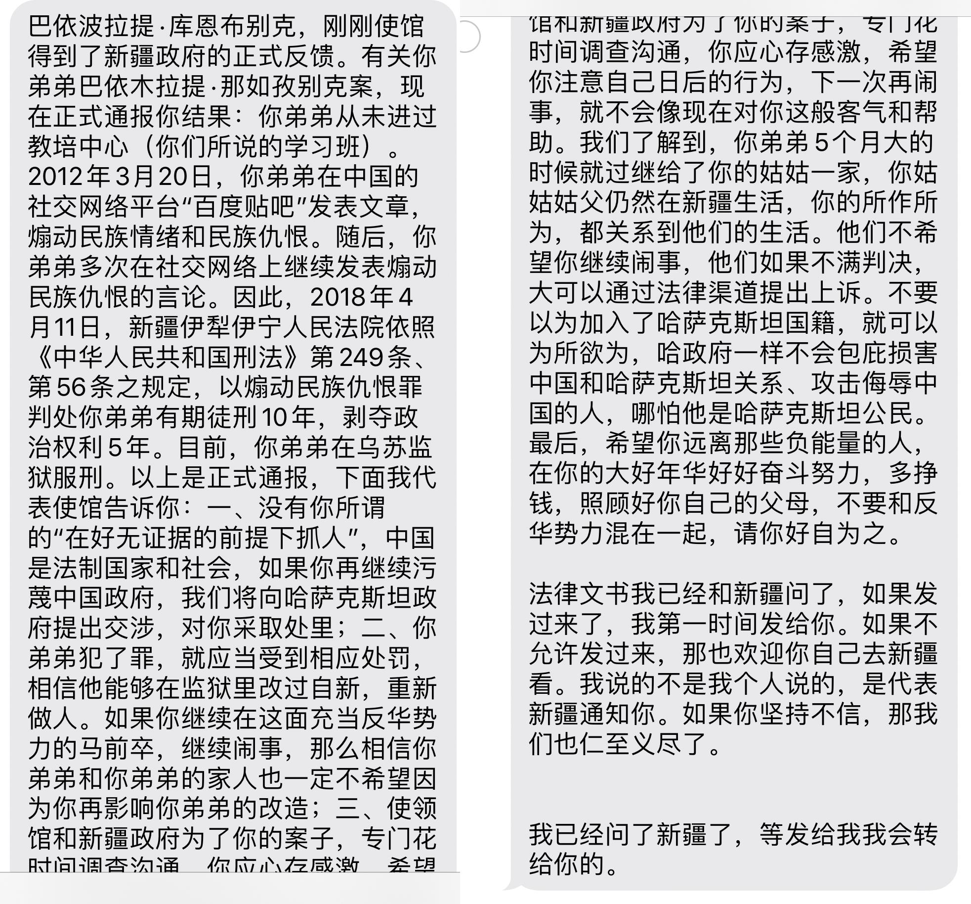巴伊波拉提收到的中国使馆官员的回复。(巴伊波拉提提供)