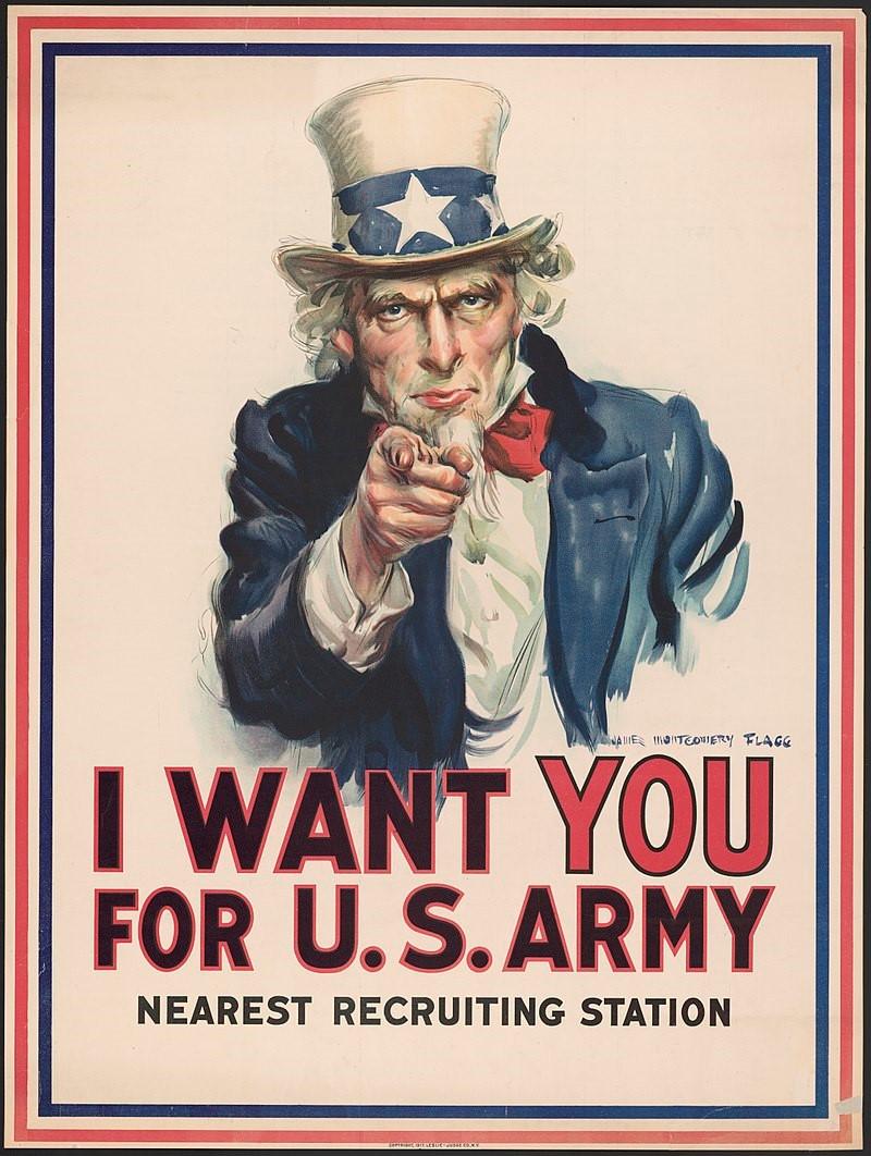 美国在关键时刻参加一次大战,以「离岸制衡」扳倒德意志帝国。图为1917年美国征兵海报。(Wikipedia)