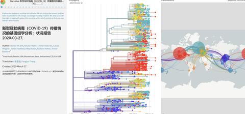 nextstrain.org网站上有关新冠病毒的数据统计。(网站截图)