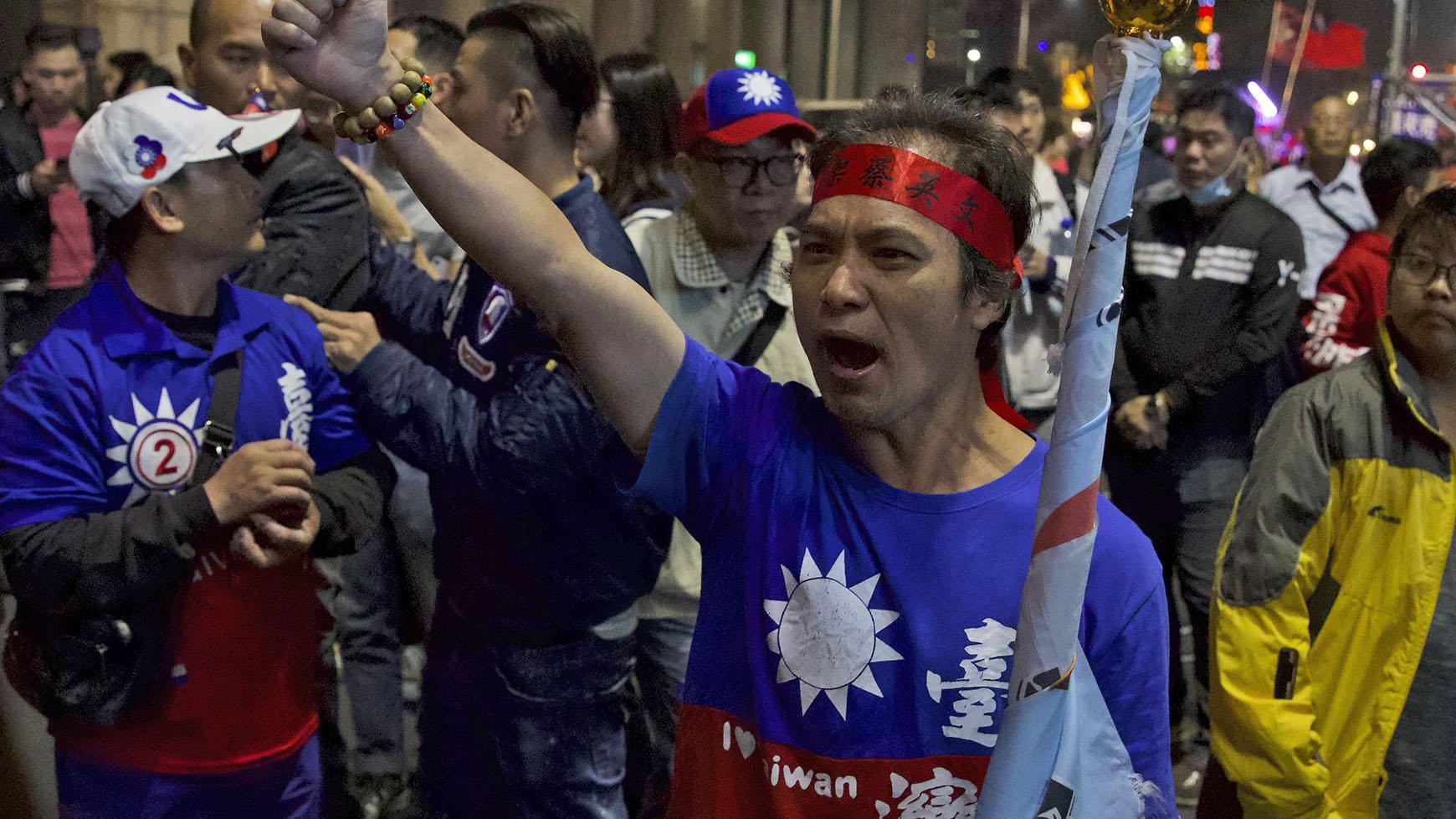 台湾国民党的支持者。(美联社)