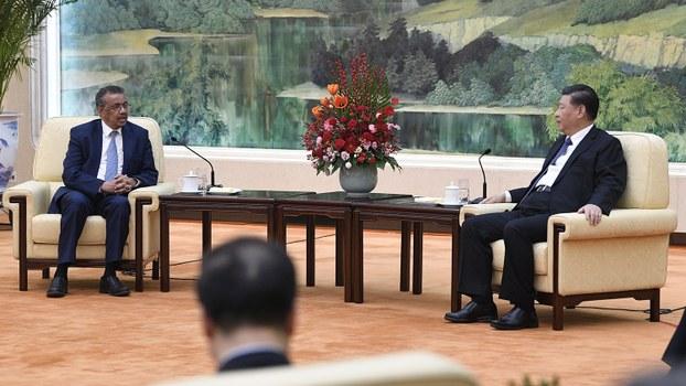 中国领导人习近平(右)2020年1月28日在北京会见世界卫生组织总干事谭德塞(美联社)