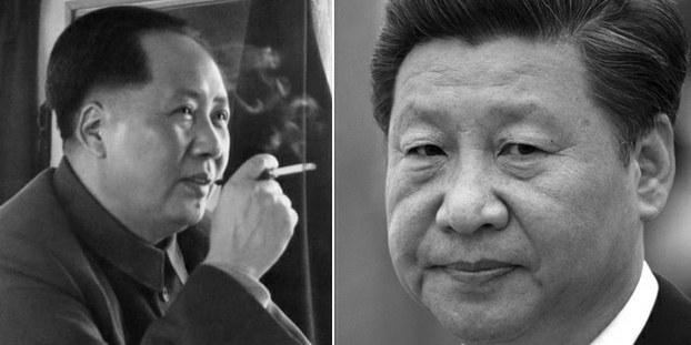 合成图片:毛泽东、习近平。(AFP)