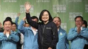 台湾现任总统蔡英文获得选举胜利。(美联社)